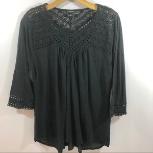 Lucky Brand Black Peasant Top